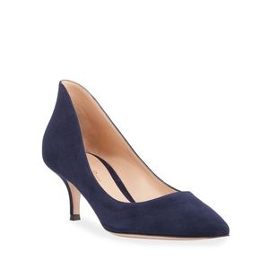 NWT Gianvito Rossi Ellipsis High-Back Suede Pump